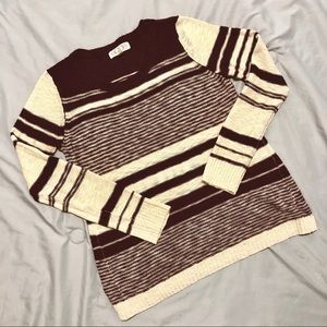 Cream and Maroon Striped Sweater - Pink Rose